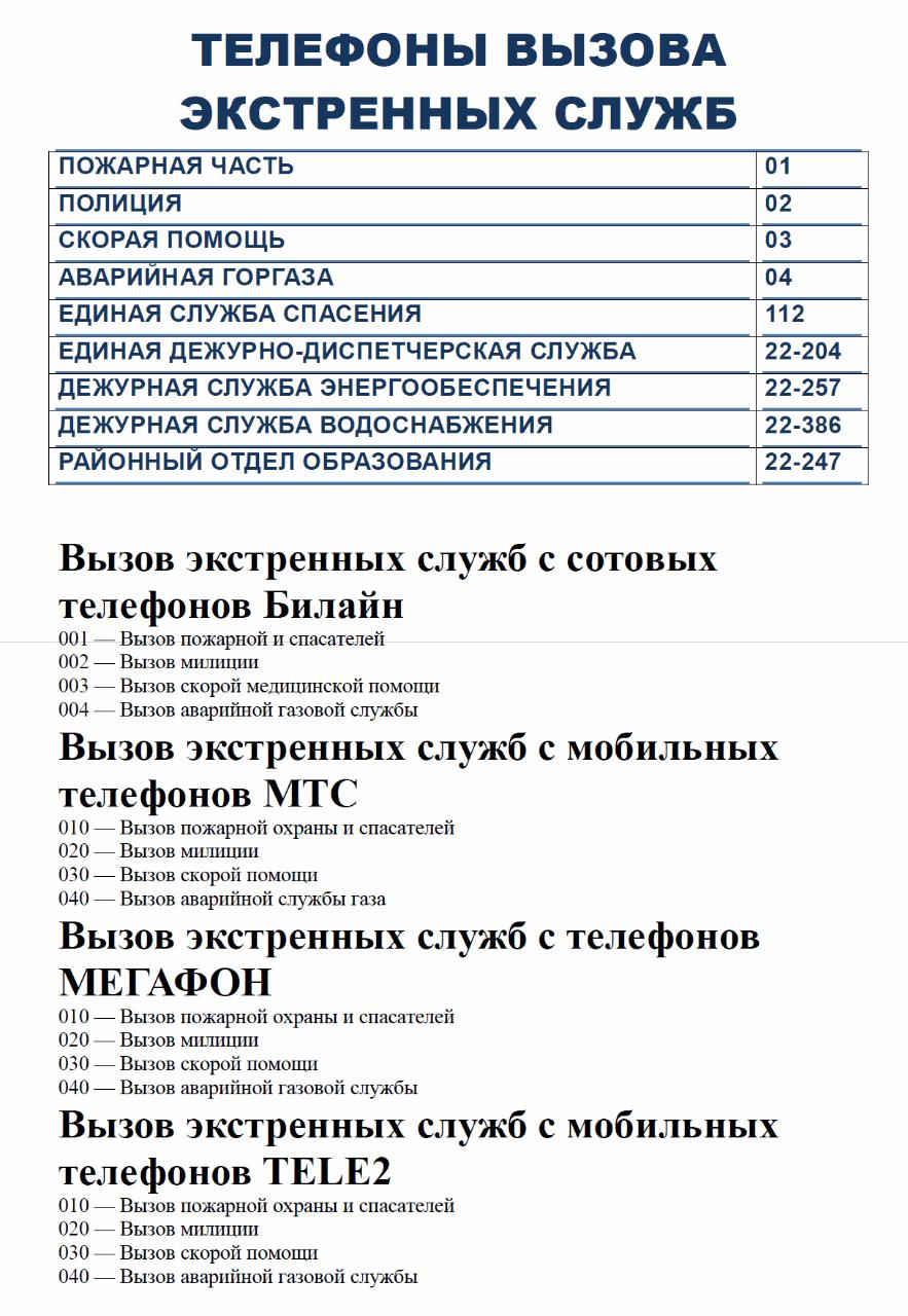 телефоны служб для уголка потребителя